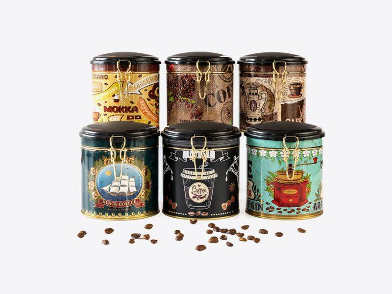 metalowe opakowania do przechowywania kawy