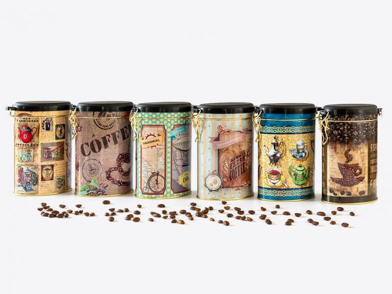 stalowe opakowanie na kawę