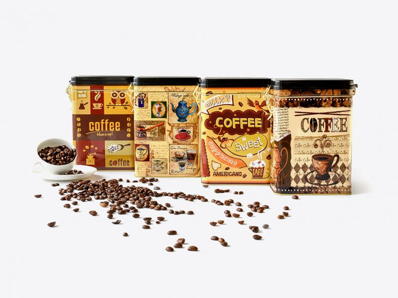 stalowe opakowania do przechowywania kawy
