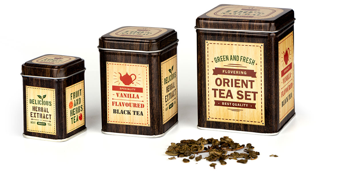 stalowe opakowanie na herbatę