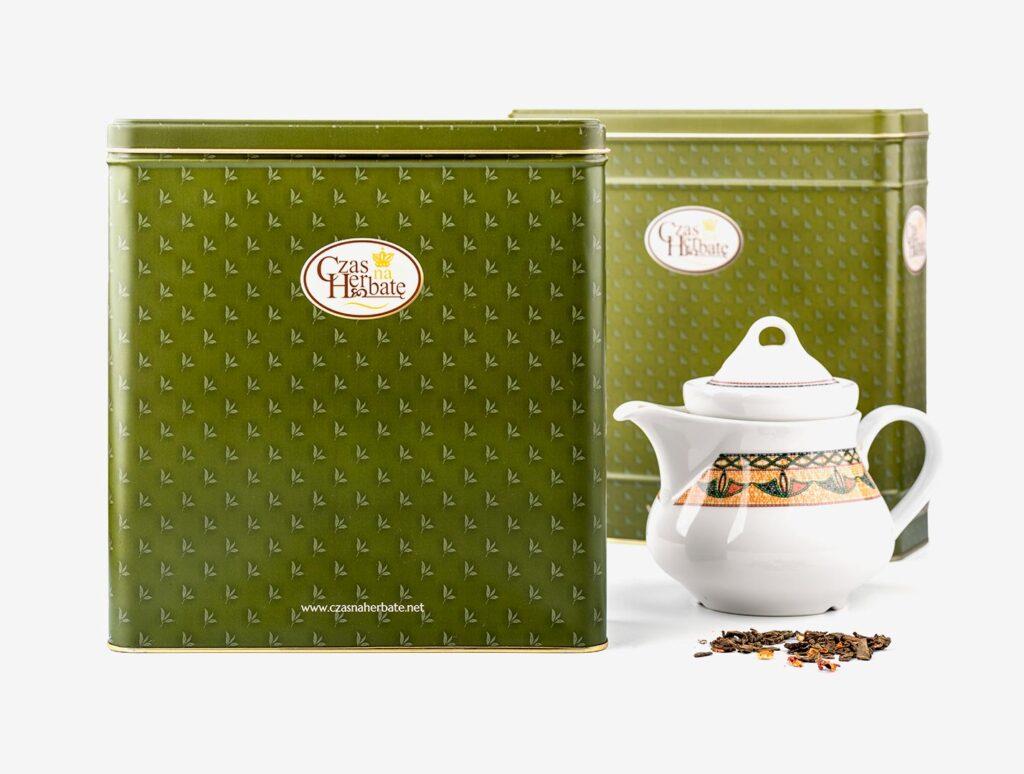 metalowe herbaciane puszki