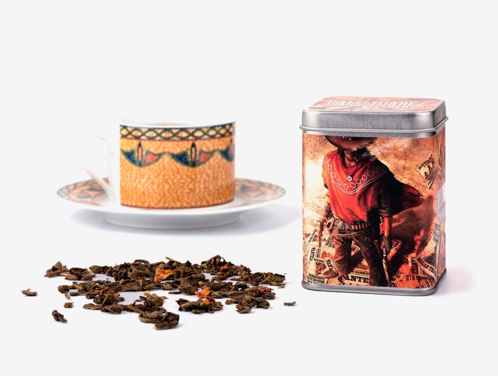 metalowa herbaciana puszka